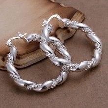 Livraison gratuite!! gros 925 bijoux argent plaqué boucle doreille, argent plaqué bijoux de mode, torsadé corde boucles doreilles SMTE156