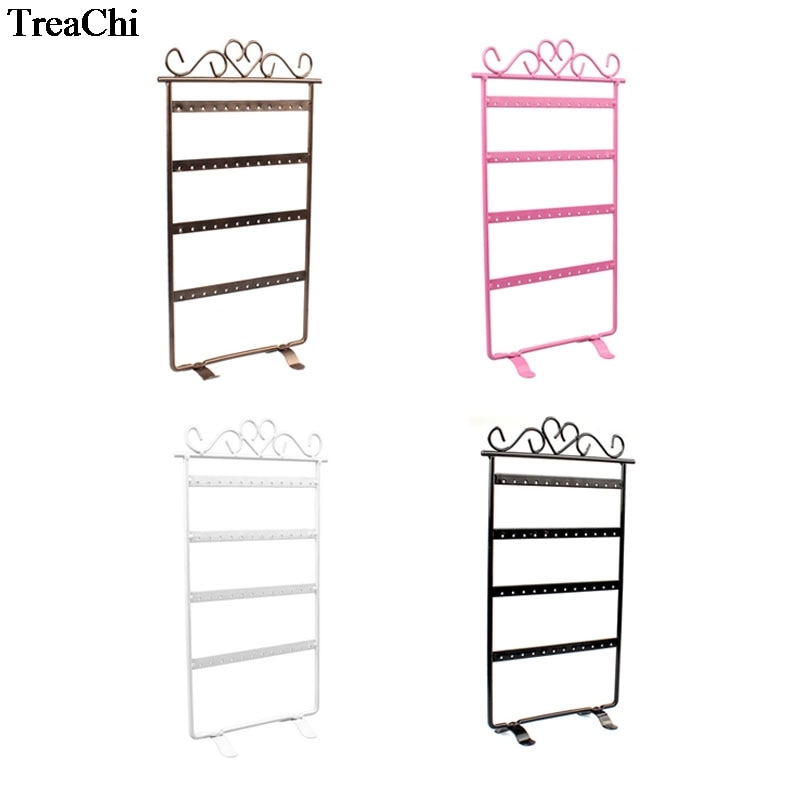 48 Holes Metal Earrings Organizer Stand Frame Holder Iron Painted 4 Layer Jewelry Earring Showcase Wall 4 Colours Available