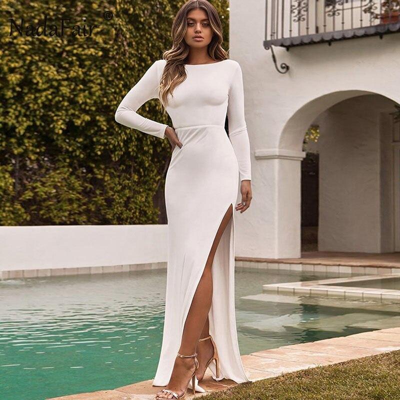 Fsda sexy clube bodycon elegante festa vestido longo sem costas dividir outono inverno manga longa maxi vestido plus size branco preto