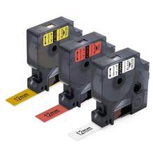 Paquet de 3 5.5m Compatible pour DYMO Rhino 4200 5200 Labels industriels permanents en vinyle 18444,18438,18432 12mm x 5.5m