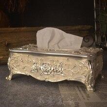 Serviette porte-serviettes en papier   Luxueuse boîte européenne en métal argenté blanc avec motif de fleurs, porte-serviettes pour la décoration de la maison ZJH002