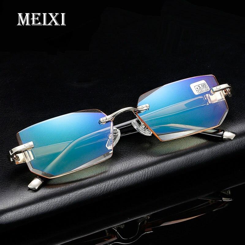 2018 novo anti-blu-ray óculos de leitura diamante corte metal sem aro h d óculos de leitura óculos de moda + 1.5 + 2.0 + 2.5