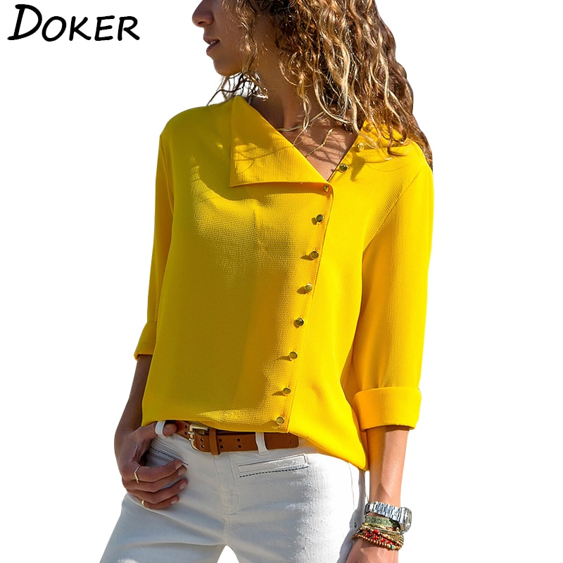Women Tops And Blouses 2020 Fashion Long Sleeve Skew Collar Chiffon Blouse Casual Tops Plus Size Ele