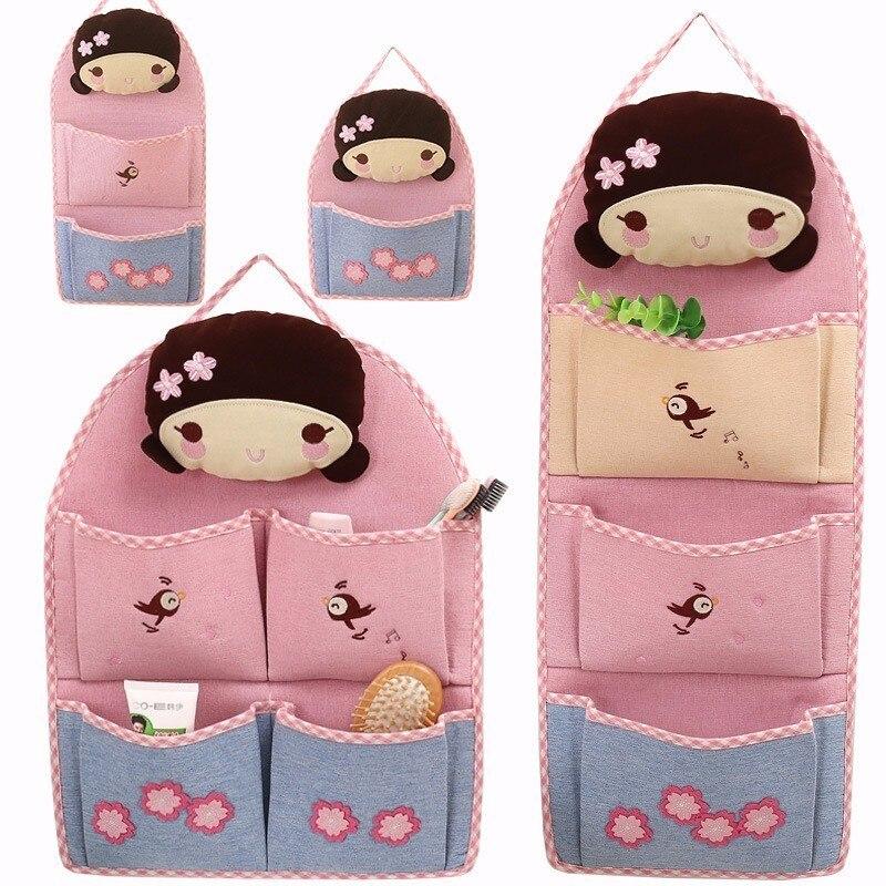 LDAJMW de lino de dibujos animados niña pequeña 1-4 bolsillos armario plegable colgar armario bolsa de pared organizador de viaje bolsillos bolsa de almacenamiento para el hogar