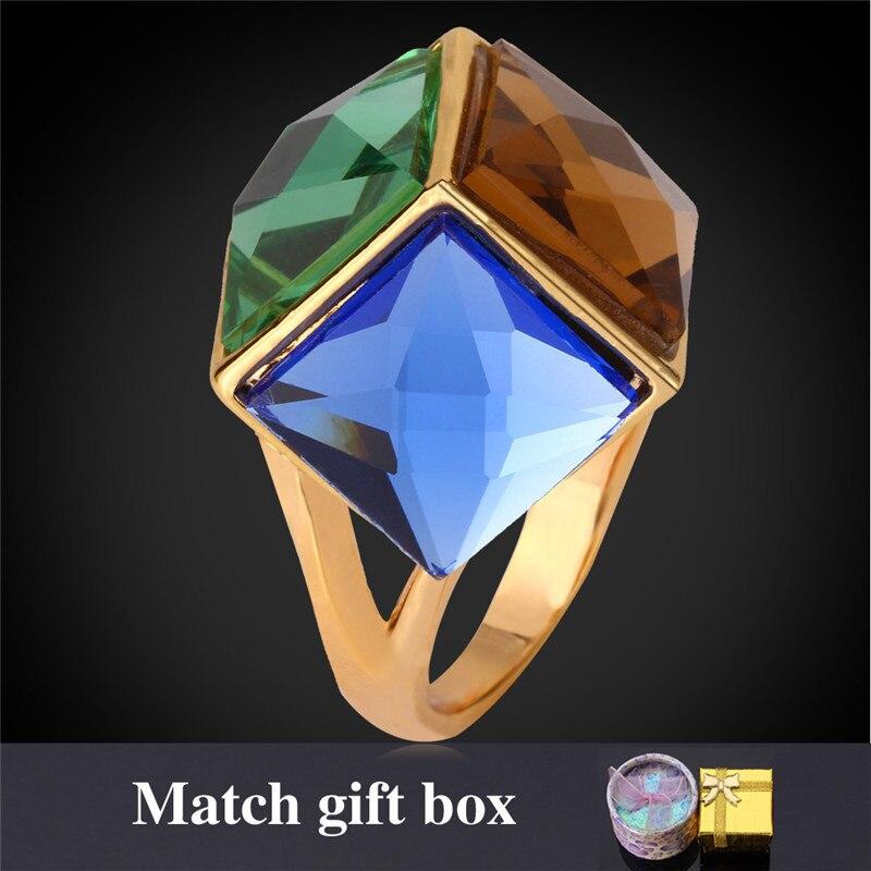 Cristal sintético mujeres fiesta/Joyería de compromiso con caja de regalo moda colorido Color oro anillo R487