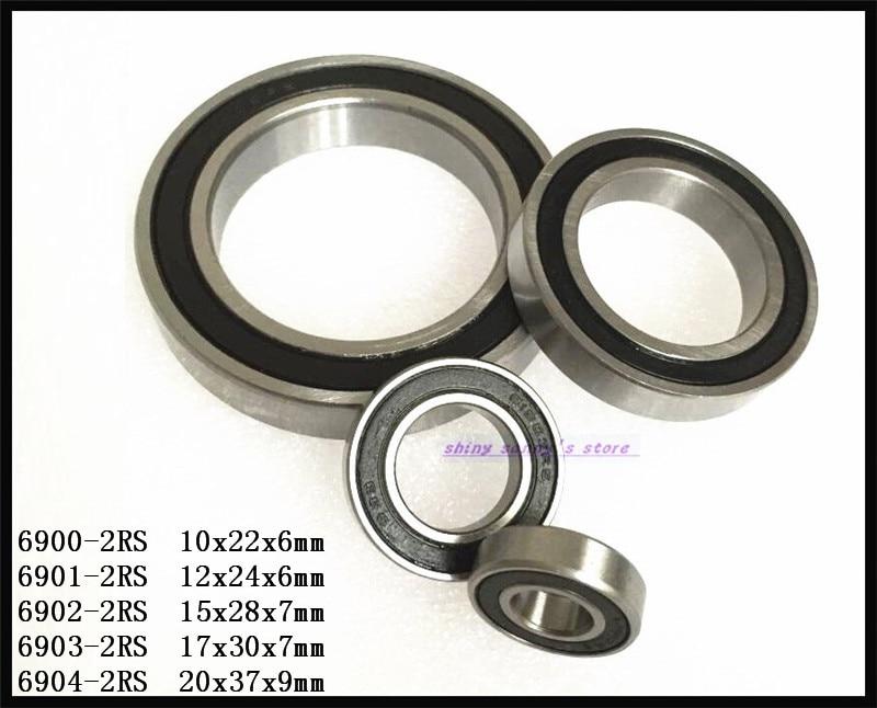 3-8 шт./лот, 6900-2RS, 6901-2RS, 6902-2RS, 6903-2RS, 6904-2RS резиновое уплотнительное покрытие, Глубокие шаровые подшипники