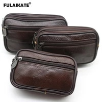 fulaikate genuine leather large size mens phone bag for iphone xs max outdoor movement wear leather belt phone running pouch
