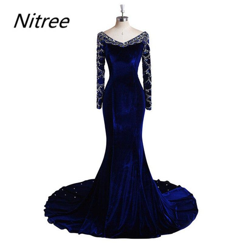 Elegante vestido De fiesta De sirena De terciopelo azul real De manga larga hecho a medida De alta calidad