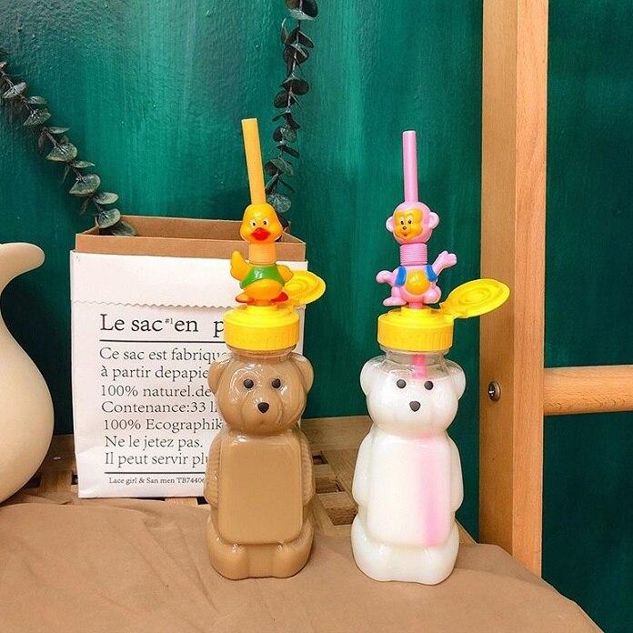Preciosa botella de oso portátil, botella de bebida, Pajita de plástico transparente, taza de oso para niños, oso, Festival, acuario