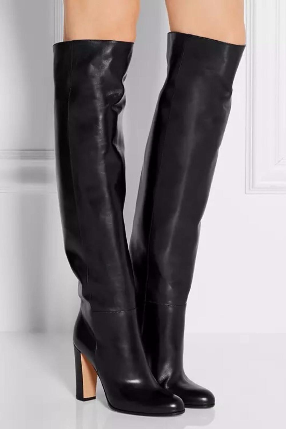 Fashion Autumn Winter Luxury Women 10 Cm High Heels Black Overknee Thigh High Boots Leather Stockings Punk Chaussure Femme