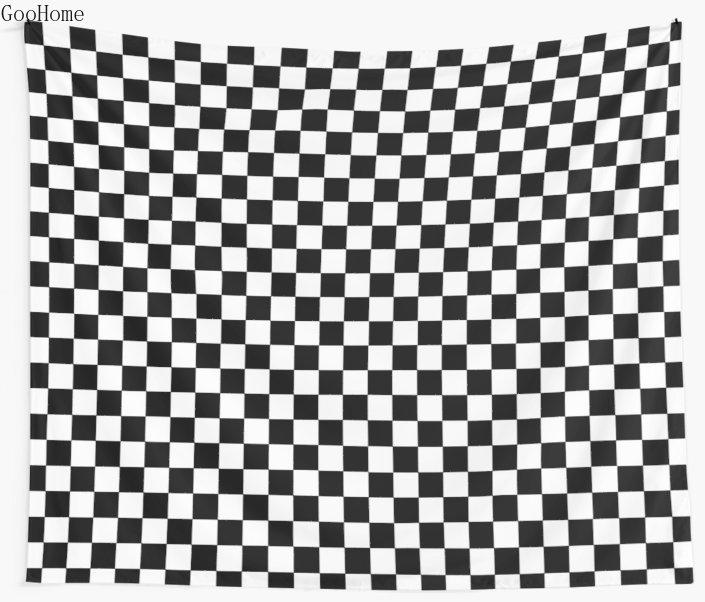 Клетчатый черно-белый настенный гобелен, пляжное полотенце, плед, одеяло, коврик для пикника и йоги, украшение для дома
