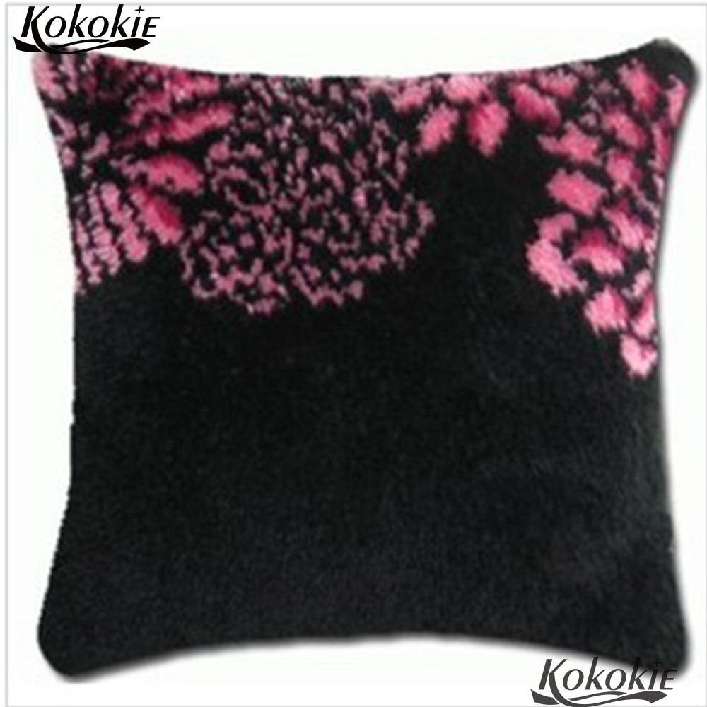 Stitch throw pillow Crocheting Rug Yarn Pillowcase latch hook rug kits flowers Cross-stitch Embroidery Set Cushion Mat