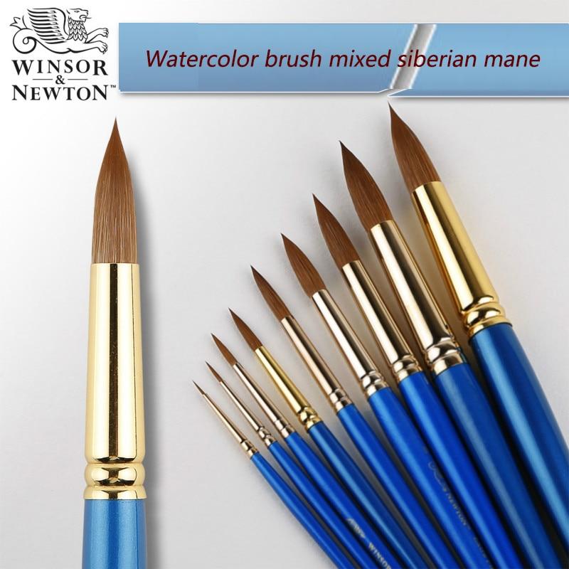 Windsor Newton round head watercolor pen mixed Siberian mane watercolor brush artist level hook line gouache acrylic paint paint
