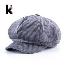 قبعات للرجال من القطن المخملي سادة مناسبة للخريف والشتاء قبعات بنعل مثمن للنساء Casquette Gavroche Boina