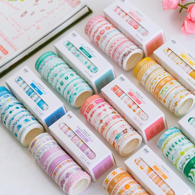10rolls/set 8mmX3m Basic Washi Tape Pattern Colorful Set Scrapbook DIY Sticker Bullet Journal School Stationery Cute Supplies