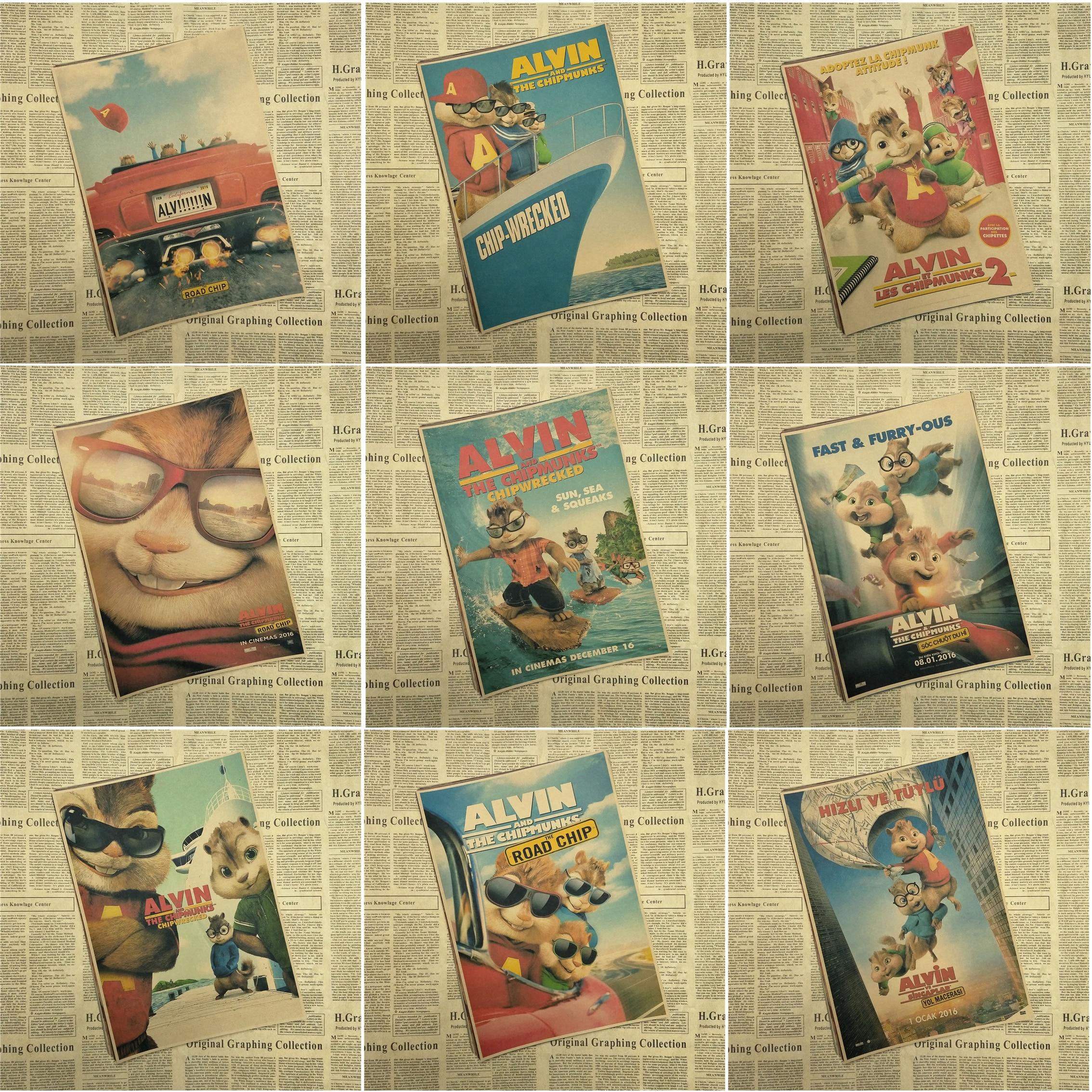 Alvin y las ardillas Retro dibujos animados película decoración de carteles pintura núcleo papel pintado Mural dibujo pegatinas colgar foto