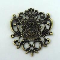 european style 4pcs antique bronze tone zinc alloy made unique designed badge charms necklace jewelry making pendant finding