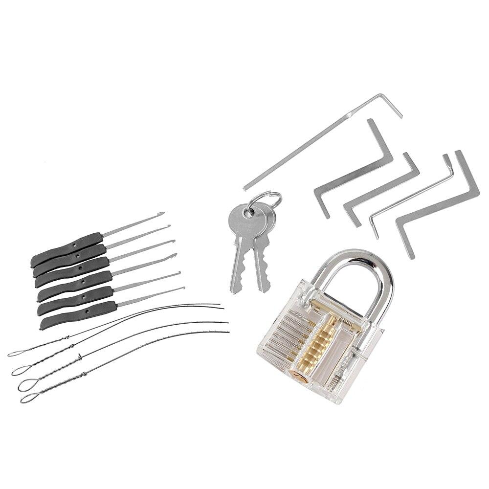 Juego de Herramientas de cerrajería 3 en 1 Juego de cerradura transparente 5 piezas de llave de cerrajería 10 piezas de Extractor de llave rota herramientas 2 llaves