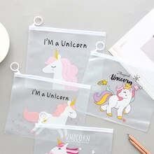 17x21cm A5 Size Trnasparent Cartoon Animal Cute Document Pen Bag for School Office File Storage Pvc Stationery Folder Organizer