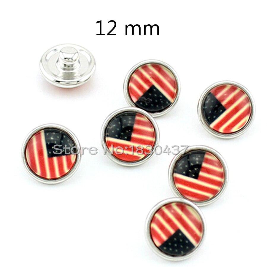 Nowy 12mm zatrzaski mini USA flaga zatrzaski piękna biżuteria dla snap przycisk bransoletka