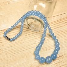 Comme la mer pur bleu et scintillant et translucide Nature aigue-marine jaspe collier.