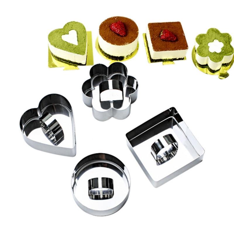 1 ud. Herramientas para hornear Mousse cuadrado con forma de corazón molde del Círculo de acero inoxidable molde para cortes vegetales molde para galletas herramienta para Bola de Sushi y arroz