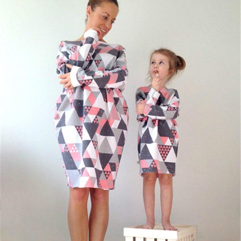 Mère fille robes famille correspondant tenues géométrie famille Look correspondant vêtements maman et fille robe livraison directe