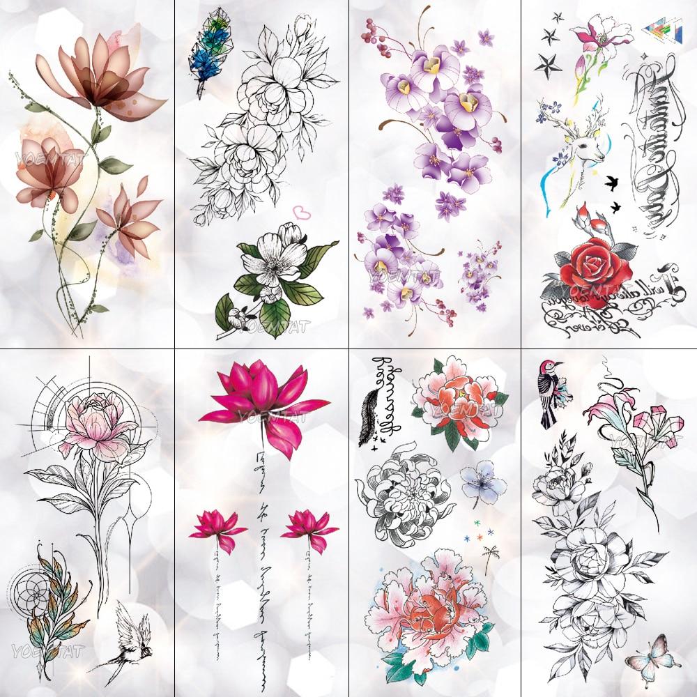 Водостойкая временная татуировка Lotus, пионы, розы, наклейки на руку