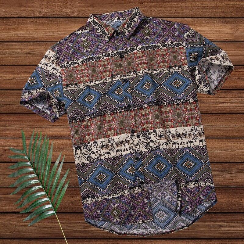 NOVEDAD DE VERANO 2020, camisa de playa de Estilo Hawaiano para hombre, camisa holgada de algodón informal de manga corta de gran tamaño, 3XL, 4XL, 5XL, 6XL