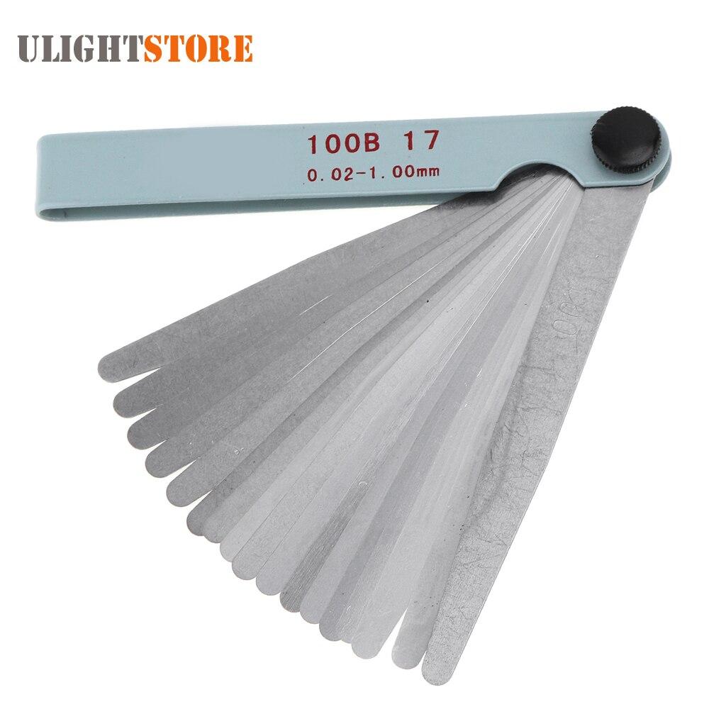 100B 17 Blade Stainless Steel Filler Feeler Gauge Measurement Tool with Adjustable Nut and 0.02 - 1.00mm Measuring Range