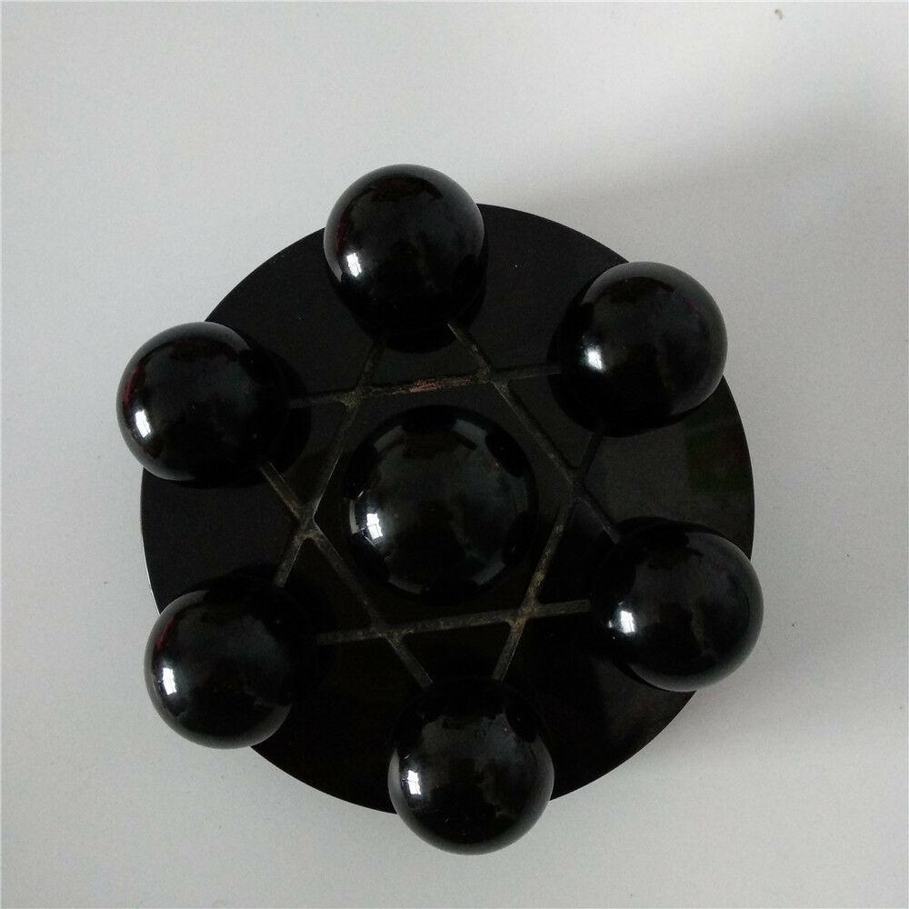 Decoración de bola de cristal obsidiana Natural de siete estrellas