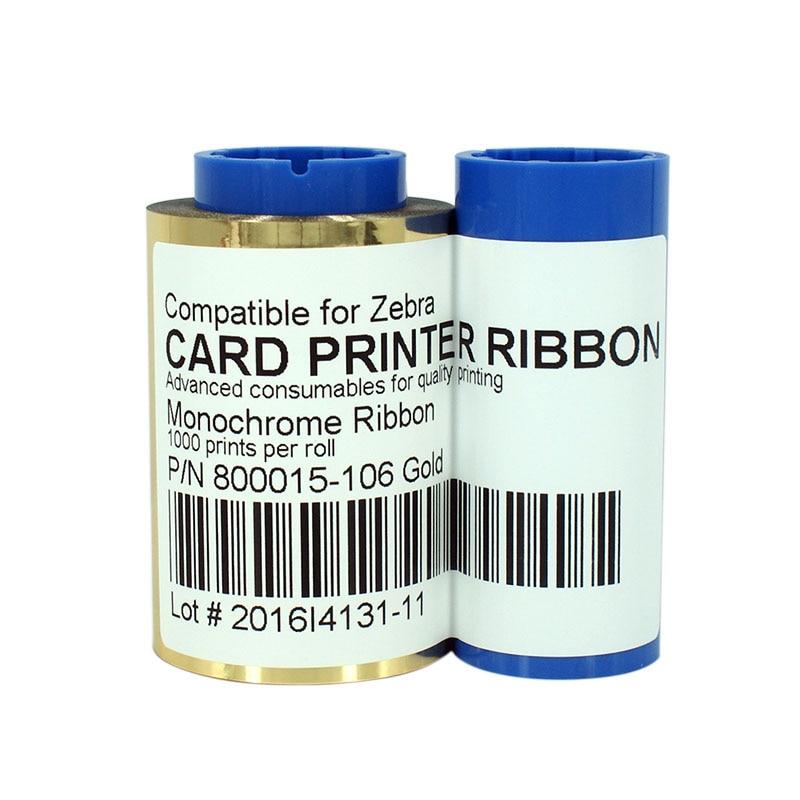 طابعة الشريط 800015-106 شريط ذهبي 1000 يطبع/لفة ل زيبرا P310i P300F P300 P320i P400 P600C بطاقة طابعة