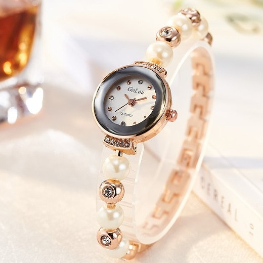 Top Brand Crystal Pearl Bracelet Watch Women Luxury Rose Gold Stainless Steel Quartz Wrist Watches Ladies Fashion Dress Watch keep moving women top famous brand luxury casual quartz watch rose gold women water stainless steel wrist watches relogio