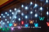 Led christmas bulb ceiling decoration 0.65*6m coloured butterfly crystal bead curtain lamp H200