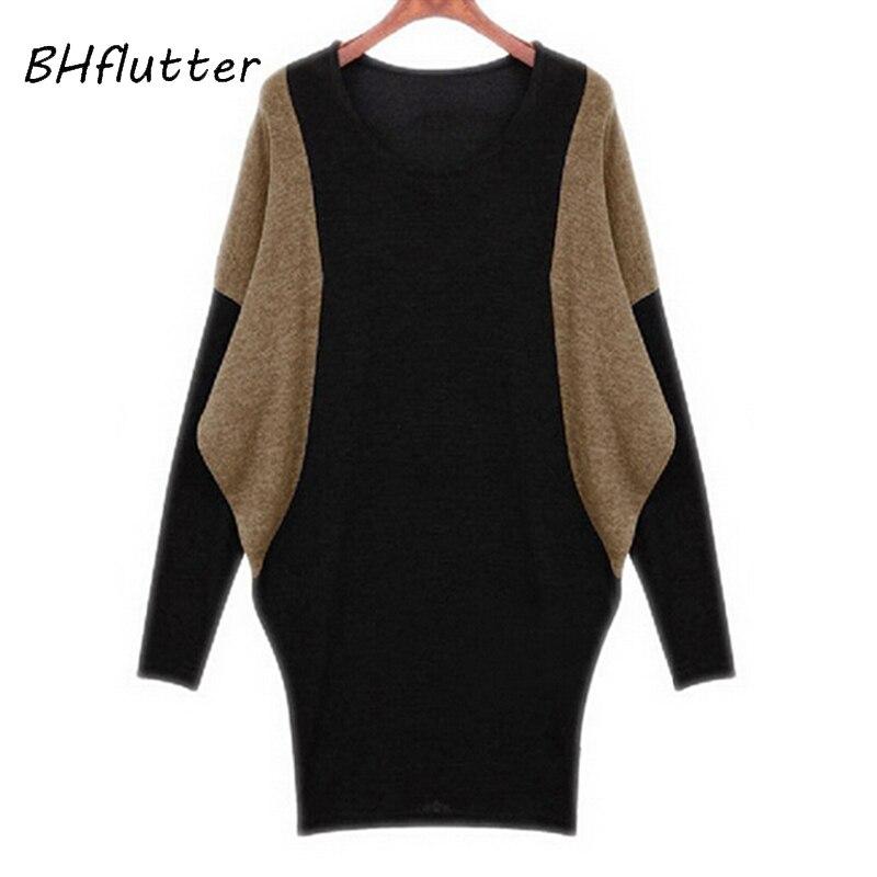 BHflutter femmes chandail nouveau 2018 à manches longues chauve-souris ordinateur tricot chandails femmes automne hiver pulls décontracté hauts t-shirts
