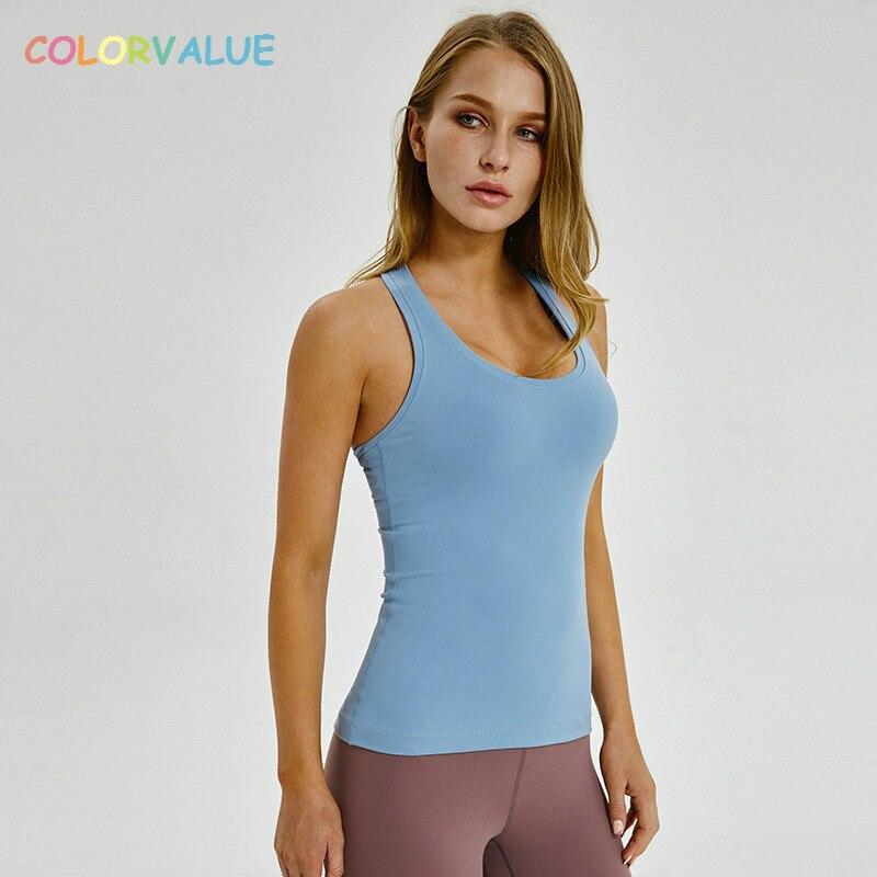 Colorvalue simples racerback yoga esporte colete feminino ajuste fino flexível de fitness atlético tanque topos macio náilon ginásio sem mangas camisas