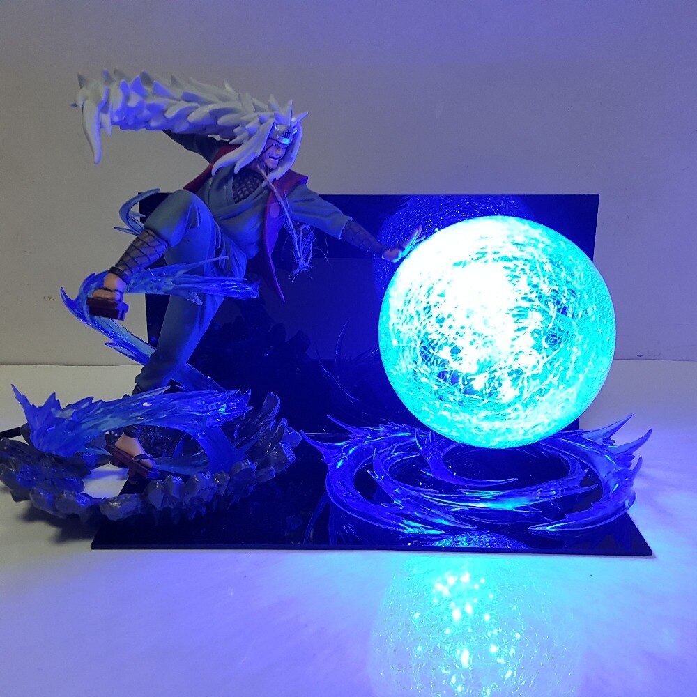 Figura de Anime Naruto Jiraiya Rasengan con luz Led, figura de Anime Naruto, figura de acción japonesa de PVC, Brinquedo DIY206