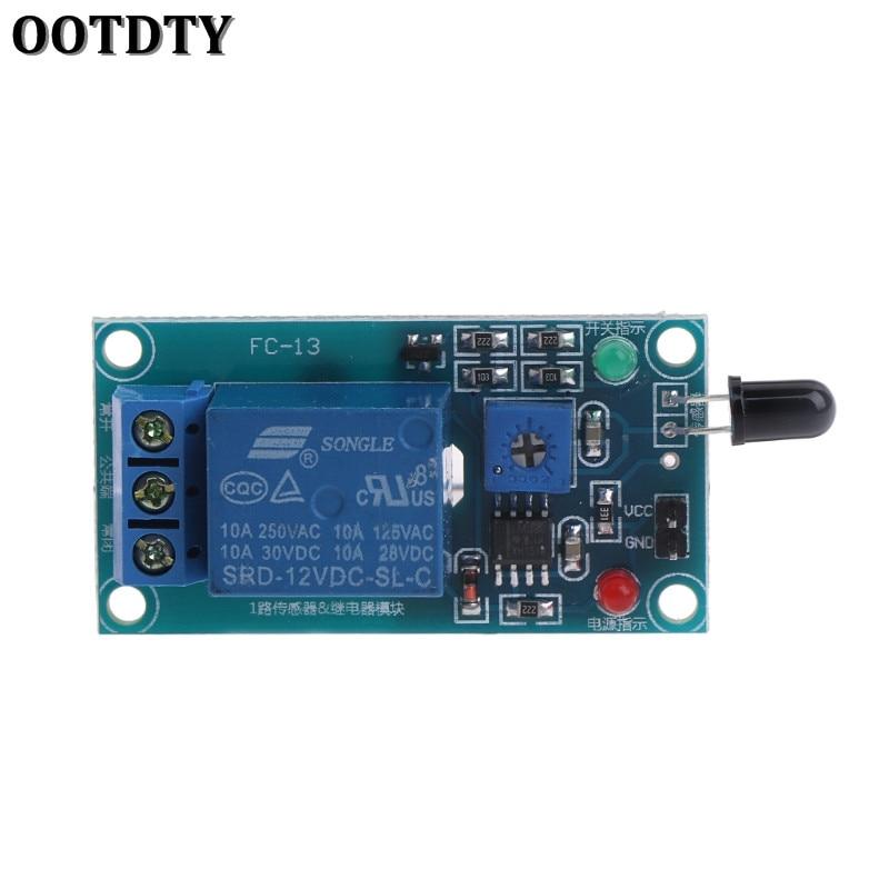 OOTDTY One Way 12V módulo de relé con Sensor de llama, alarma de fuego con detección de llama