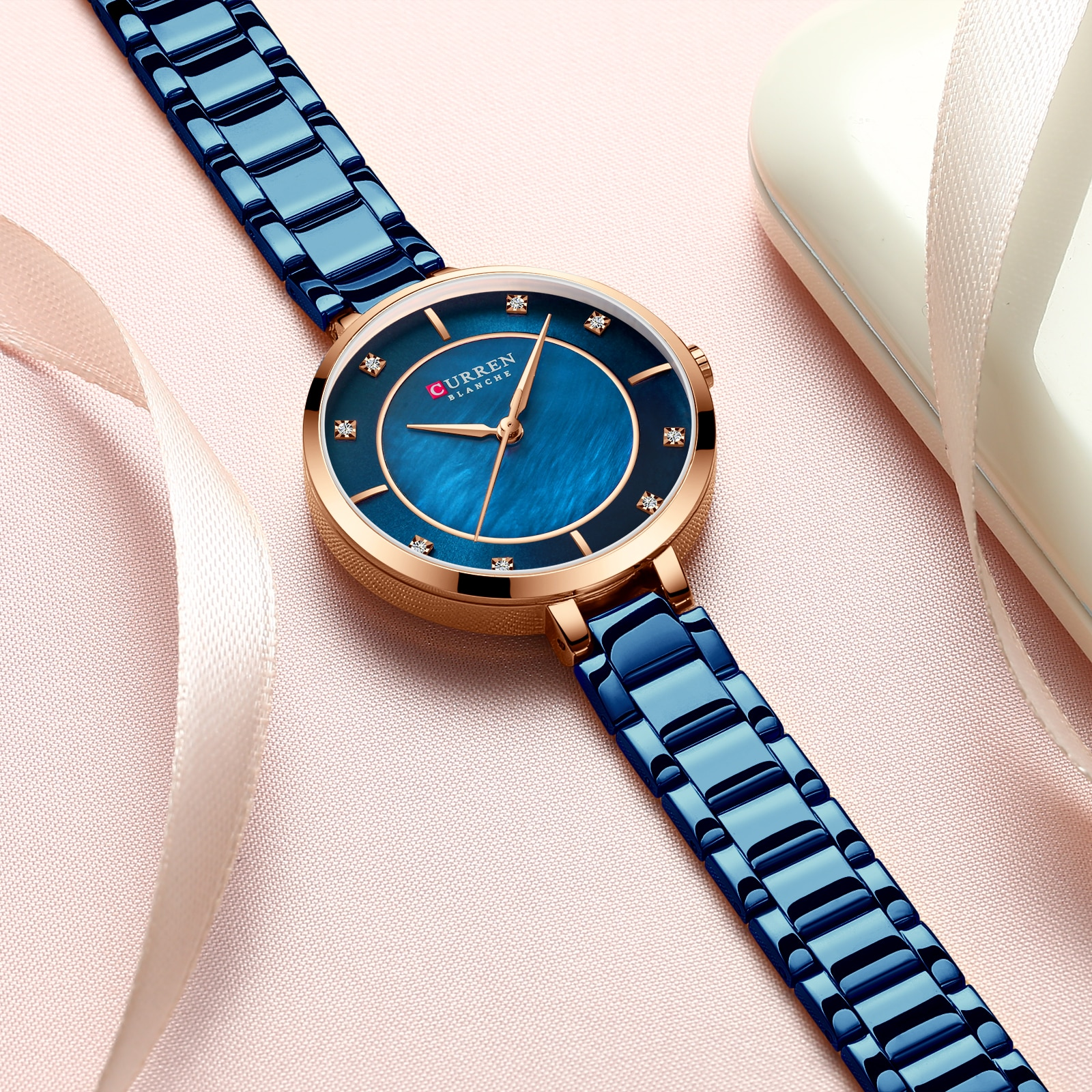 CURREN Fashion Ladies Watch Blue Stainless Steel Bracelet Rhinestone Diamond Quartz Waterproof Female Watches Clock Montre Femme enlarge