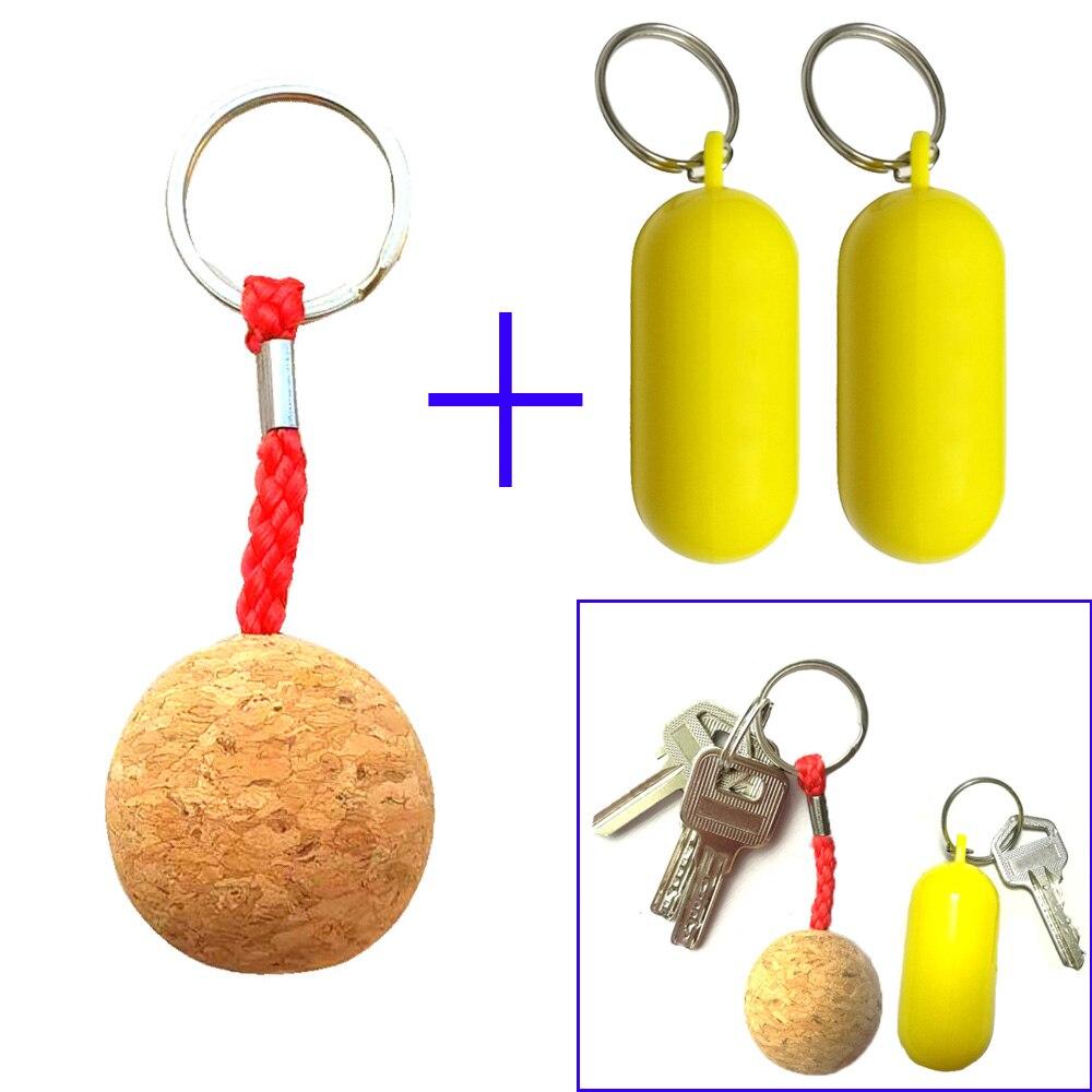 Llavero flotante de bola de corcho, llavero flotante de plástico para guardabarros, llavero flotante para barco marino, Vela, Kayak, Surf, regalo
