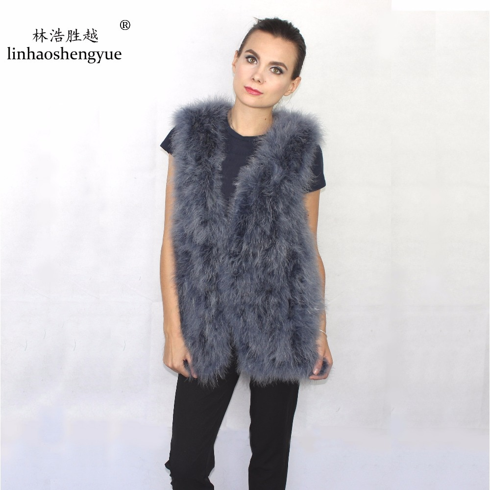 Linhaoshengyue  2016 Fashion Ostrich Hair Women Vest Winter Warm Freeshipping Hot Long 70CM