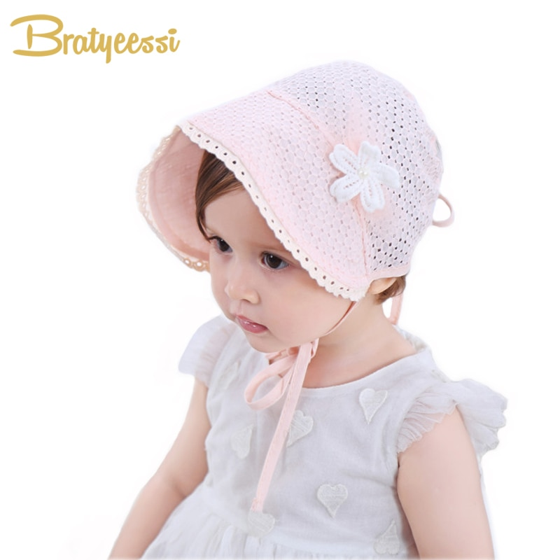Dulce princesa bebé niña sombrero verano encaje-up Beanie rosa/blanco algodón Bonnet Enfant para 4-24 M