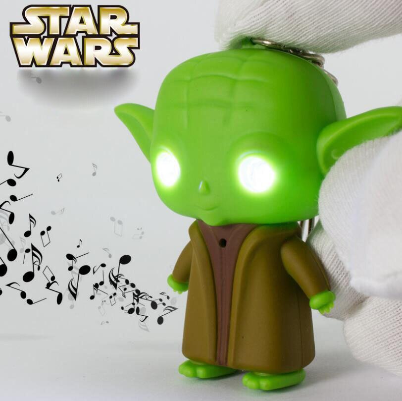 Yıldız savaşları LED oyuncak BB8 Darth Vader Yoda ana aksiyon figürü Anakin Skywalker anahtarlıklar ses flaş işık oyuncaklar