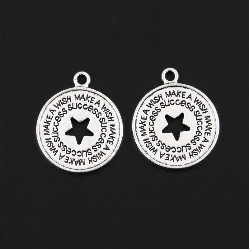 5 pçs cor de prata novo design melhores desejos tema encantos estrela sorte pingente jóias fazendo colares diy suprimentos 20x23mm a3124