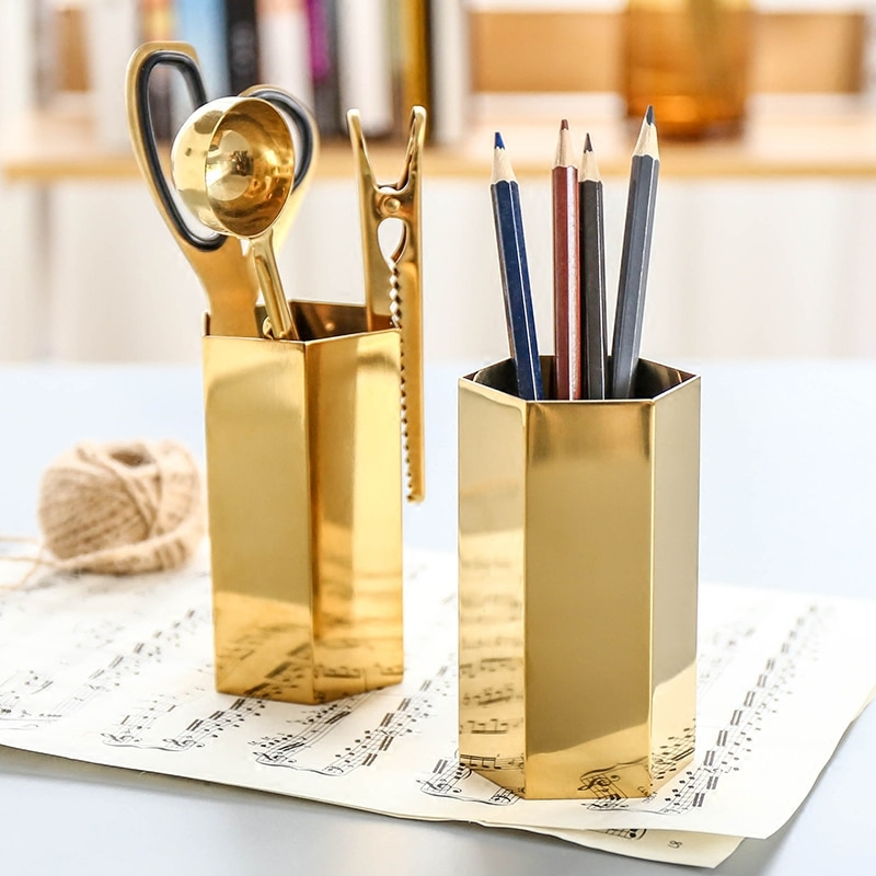 Nordic Pen Holder Flower Vase Pencil Container Rack Brush Pot Metal Desktop Storage Tool Office Stationery Organizer Accessories