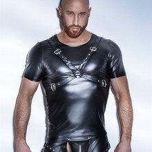S-XXL New Plus Size Sexy Lingerie Men Latex Wetlook Faux Leather Bondage Bodysuit Leotard Unitard Fetish Costumes Erotic Apparel