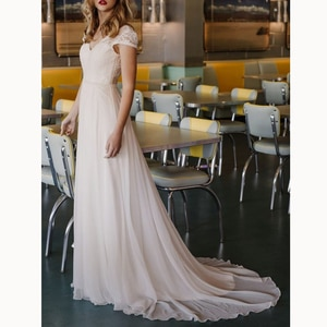 A-line Cap Sleeves Natural Backless Lace And Chiffon V-Neck Wedding Dresses 2019 Bride Dress New Ivory Wedding Dresses 2019