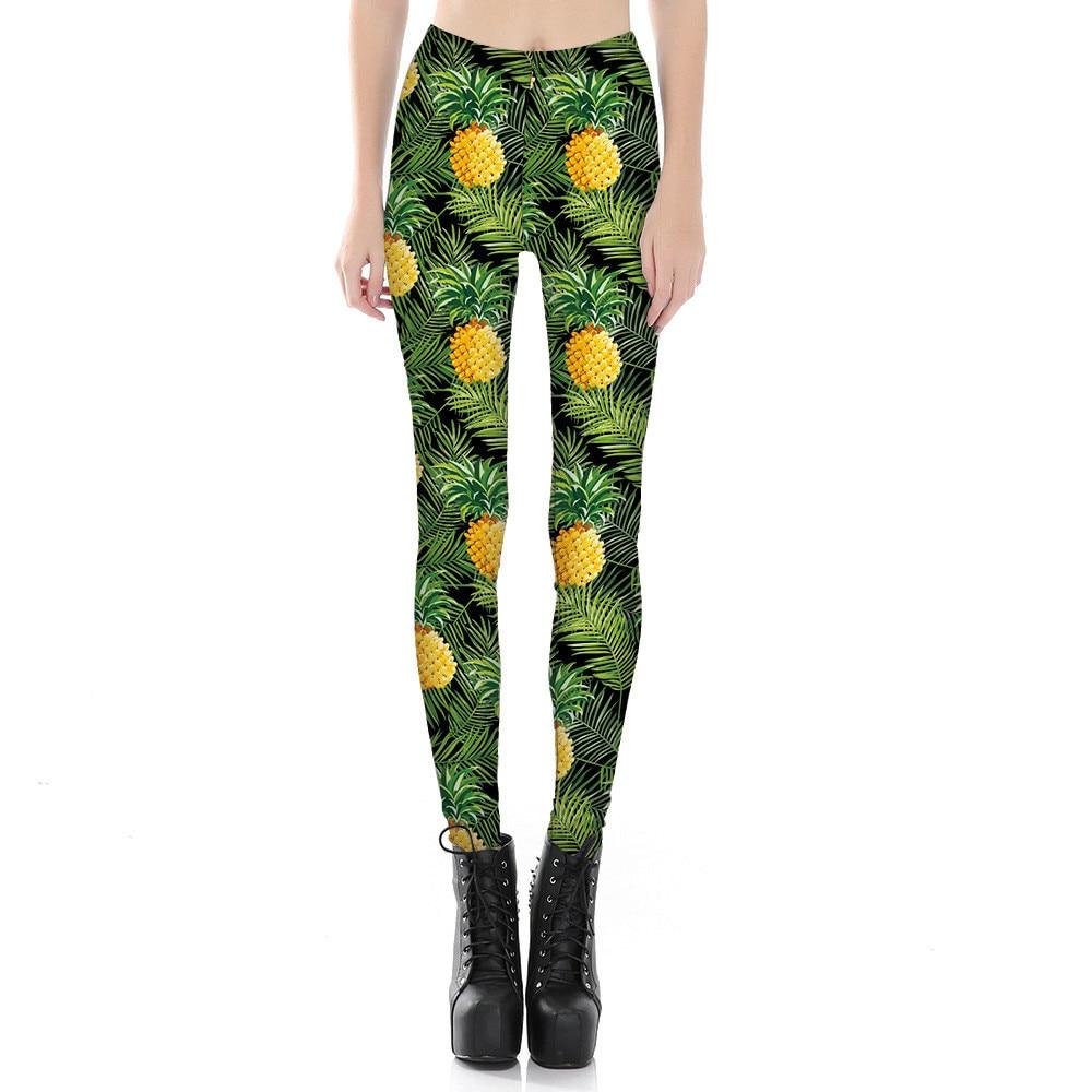 Piña de las mujeres de impresión polainas Fitness entrenamiento animadora Rooter pantalones fiesta Hiphop de fibra elástica, Pantalones