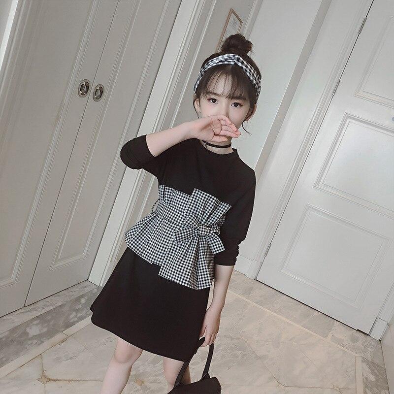 Primavera escuela arco otoño vestido de bebé niña ropa negra cuadros Patchwork manga larga vestidos de algodón para Niñas Ropa