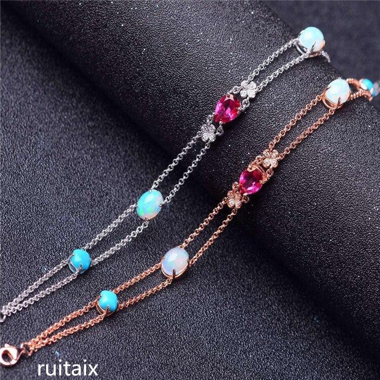 KJJEAXCMY S925 fine jewelry prata inlay cor natural gema topázio opala cor bracelete de cristal do sexo feminino jóias de estilo